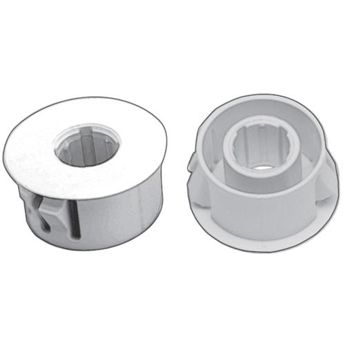 Link adapter met flens voor inbouw in metaal, Wit