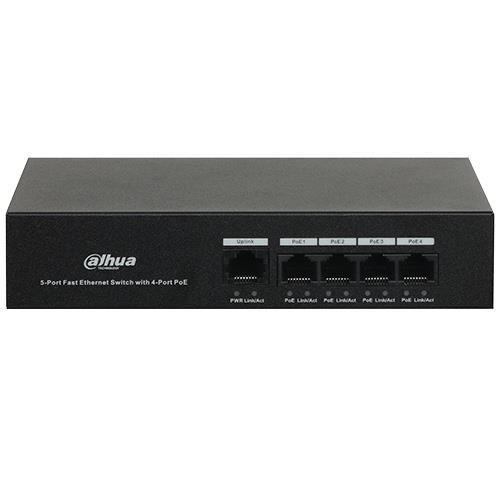 Dahua PFS3005-4ET-36 Switch Unmanaged PoE Formfactor: Desk-uitvoering Class: Ethernet