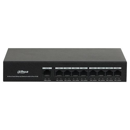 Dahua PFS3009-8ET-65 Switch Unmanaged PoE Formfactor: Desk-uitvoering Class: Ethernet