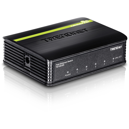 TRENDnet TE100-S5 5 poorten Ethernetswitch - 5 x Fast Ethernet Netwerk - 2 Layer Supported - 5 Jaar Limited Warranty