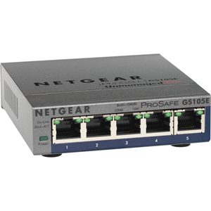 Netgear ProSafe GS105E 5 poorten Beheer mogelijk Ethernetswitch - 2 Layer Supported - Bureaublad, Monteerbaar in rek - Levenslang Limited Warranty