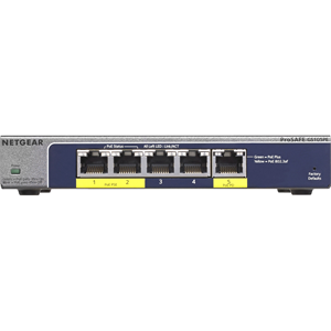 Netgear ProSafe GS105PE 5 poorten Beheer mogelijk Ethernetswitch - 2 Layer Supported - Bureaublad
