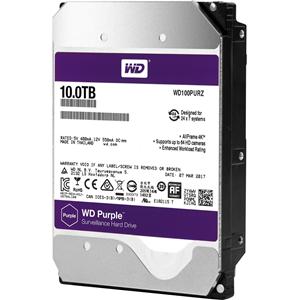 """WD Purple WD100PURZ 10 TB 3.5"""" Intern Harde schijf - SATA - 5400rpm - 256 MB buffer"""