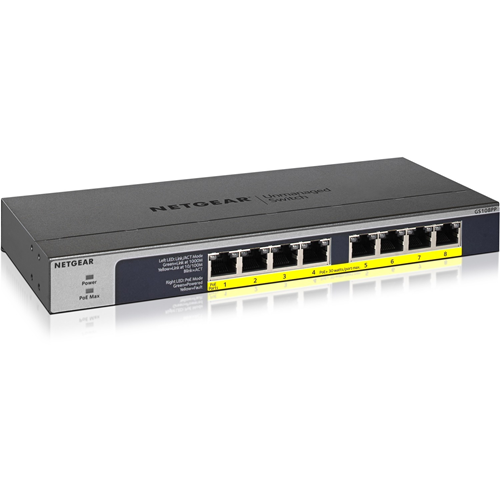 Netgear GS108PP 8 poorten Ethernetswitch - 2 Ondersteunde laag - Twisted-pair