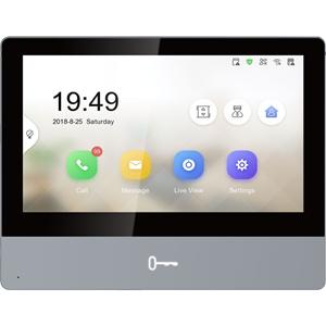 "Hikvision DS-KH8350-WTE1 17,8 cm (7"") Video masterstation - Touchscreen - Gehard glas, Aluminium - Indoor, Appartement"