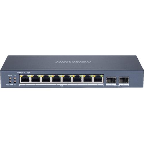 Hikvision DS-3E1510P-SI 8 Poorten Beheer mogelijk Ethernetswitch - Gigabit Ethernet - 1000Base-T, 1000Base-X - 2 Ondersteunde laag - Modulair - 2 SFP-poorten - Stroomvoorziening - 120 W Stroomverbruik - 110 W PoE Budget - Optische vezel, Twisted-pair - PoE Ports