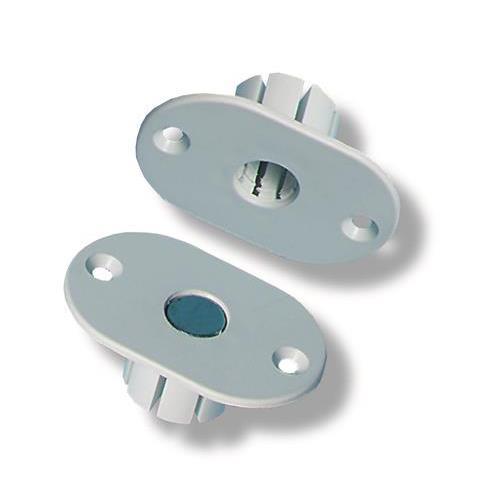 Adapter Flens Voor Inbouw In Metaal, Met 1 Sterke Magneet, Wit