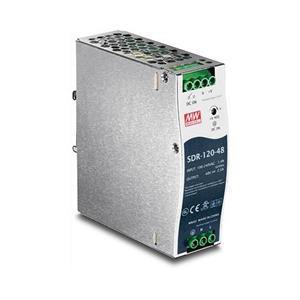 Industriële voeding met geïntegreerde DIN-rail montage Biedt tot 120 Watt vermogen (48 V, 2,5 A) Ingebouwde actieve PFC (PF> 0,93) Kortslu