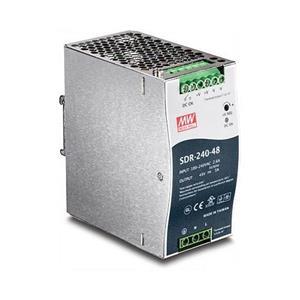 Industriële voeding met geïntegreerde DIN-rail montage Biedt tot 240 watt aan vermogen (48 V, 5 A) Ingebouwde actieve PFC (PF> 0,93) Korts